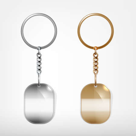 Illustration of a blank metal oval shape key chain with a ring isolated on a white background Ilustração