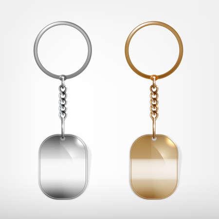 llaves: Ilustraci�n de un llavero de forma ovalada de metal blanco con un anillo aislado en un fondo blanco Vectores