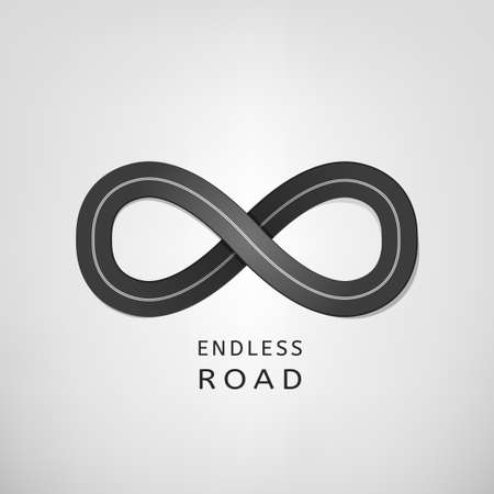 infinity sign: Endless road in the ideal shape of infinity sign Illustration