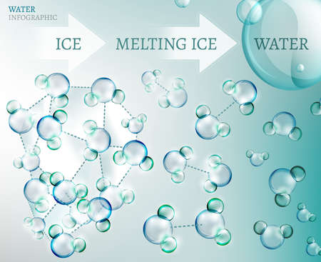 The illustration of bio infographics with water molecule in transparent style
