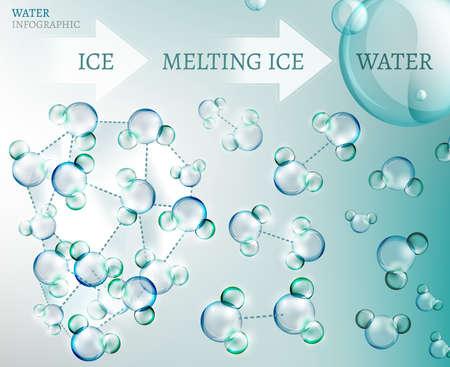 molecula: La ilustración de la infografía bio con la molécula de agua en estilo transparente Vectores