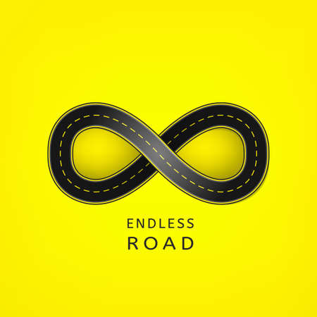 Endless road in the shape of infinity sign
