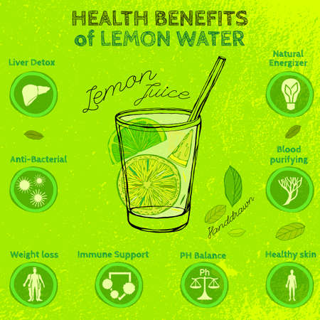 The illustration of  beautiful hand drawn lemon juice in a cocktail glass on a textured background in fresh and juicy style. Vector image. Infographic poster. Fresh juice for healthy life. 矢量图像