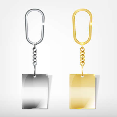 llaves: Ilustraci�n de un llavero rectangular de metal blanco con un anillo aislado en un fondo blanco