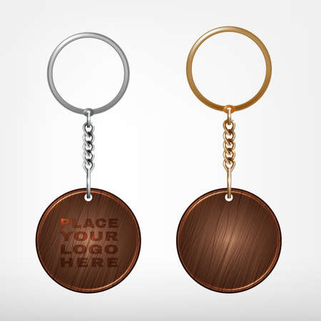 Illustration of a wooden and metal oval key chain with a ring isolated on a white background