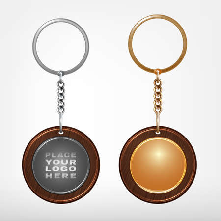 keyholder: Illustration of a wooden and metal oval key chain with a ring isolated on a white background