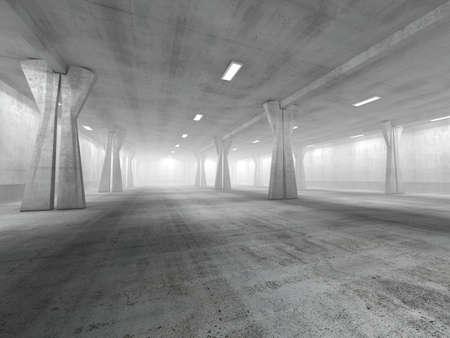 빈 지하 주차장 3D 렌더링 이미지