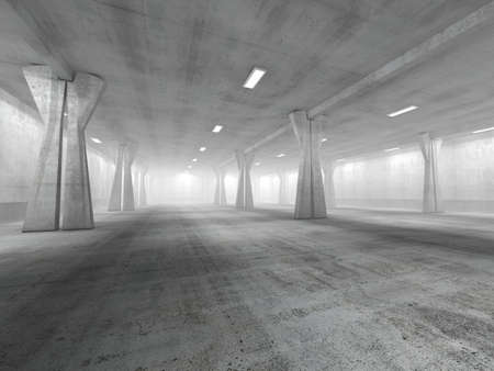 Empty underground parking area 3D rendering image Фото со стока