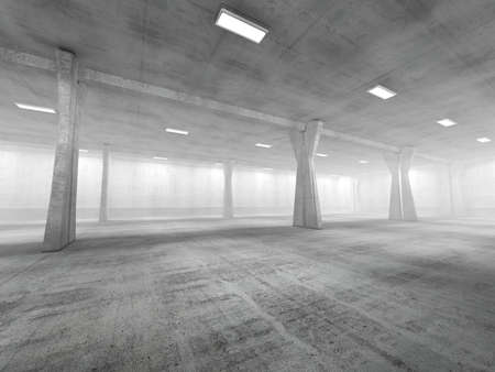 concrete structure: Empty underground parking area 3D rendering image Stock Photo