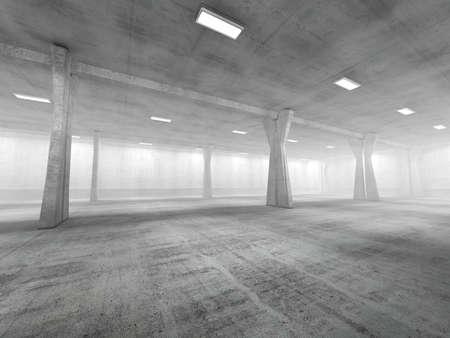 concrete: Vacío subterráneo área de estacionamiento de representación en imágenes 3D