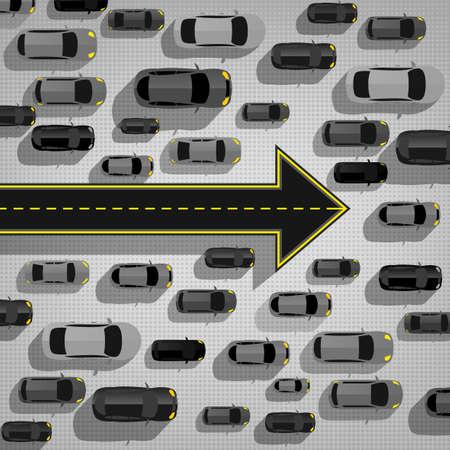 mermelada: atasco de tráfico en la carretera. Editable concepto de transporte gráfica para el cartel, carteles y diseño de folleto en estilo moderno 3D.