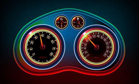 velocimetro: Ilustración vectorial editable de un tablero de instrumentos del coche con los indicadores del tacómetro, velocímetro, nivel de temperatura y de nivel de gasolina. Resumen imagen detallada del automóvil sobre un fondo oscuro. Vectores