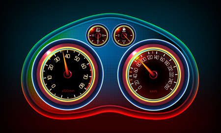 speedometer: Vector editable illustration of a car dash panel with tachometer, speedometer, temperature level and gasoline level indicators. Abstract automotive detailed  image on a dark background. Illustration