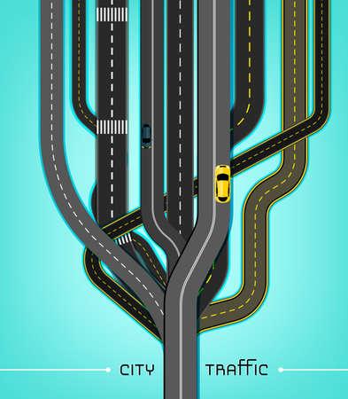 carro caricatura: Ilustración vectorial editable de abstracto reunión red de carreteras en una dirección. Útil para el transporte, los viajes y el diseño de negocios. Concepto creativo Automotriz