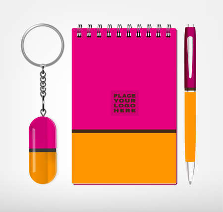 pen: Vector illustration of sketchbook, oval keychain with a ring for a key and a pen isolated on a white background in bright colors. Ideal template for branding, identity guidelines and promo campaigns.
