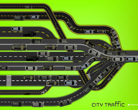 viaduct: Vector editable illustration of abstract road net gathering in one direction. Useful for transportation, travelling and business design. Automotive creative concept