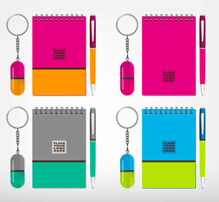 branding: Vector illustration of sketchbook, oval keychain with a ring for a key and a pen isolated on a white background in bright colors. Ideal template for branding, identity guidelines and promo campaigns.