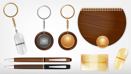 souvenirs: Vector illustration of a wooden and metal souvenirs with a rings for a key, notebook and pens Isolated on a white background. Ideal template for branding, identity guidelines and promo campaigns.