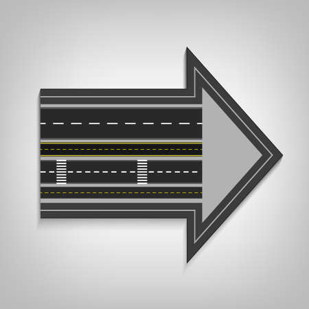 new opportunity: Vector editable illustration of an abstract road direction arrow with road surface marking in white and yellow colours. Useful for transportation, travelling, progression and business design.