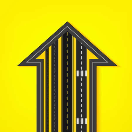 Vector editable illustration of an abstract road direction arrow with road surface marking in white and yellow colours. Useful for transportation, travelling, progression and business design.