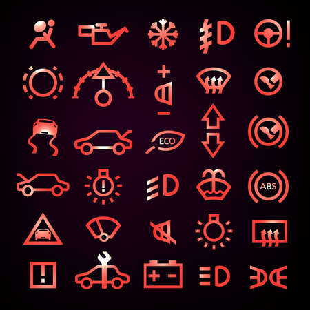 airbag: Beautiful vector illustration of car dashboard icons on a black background. Transportation automotive design. Digital pictogram collection in red glowing color