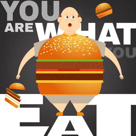 Beautiful vector illustration of the overweight man in the You are what you eat concept. Editable image useful in obesity placard, poster, infographics and brochure design in cartoonish style.