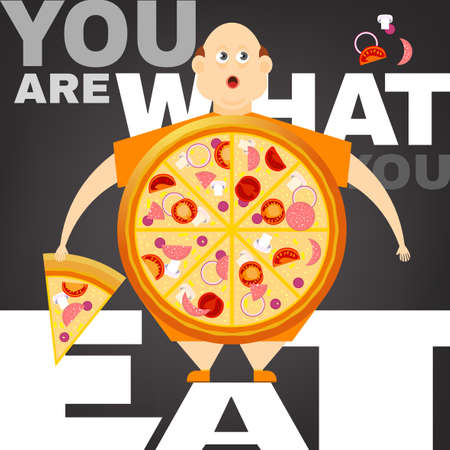 obesity: Beautiful vector illustration of the overweight man in the You are what you eat concept. Editable image useful in obesity placard, poster, infographics and brochure design in cartoonish style.