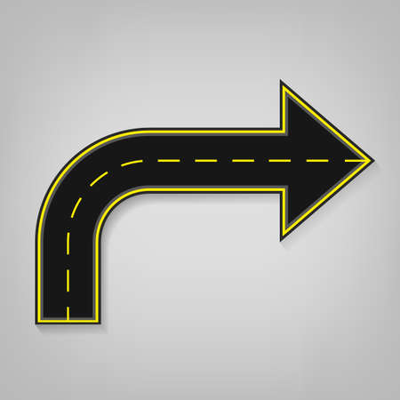 turning point: Vector editable illustration of an abstract road direction arrow with road surface marking in white and yellow colours. Useful for transportation, travelling, progression and business design.