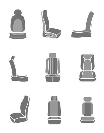warmer: Modern set of car seat icons in grey colors. Editable automotive collection. Vector illustration. Illustration
