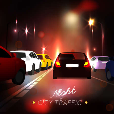 busy city: Beautiful abstract  night city traffic background. Vector illustration with automobile silhouettes in violet and purple tones. Busy life concept.