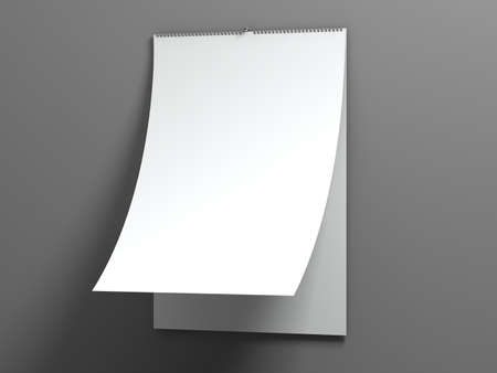 calendar day: Blank design calendar template with open cover on a grey background with soft shadows. 3d rendering