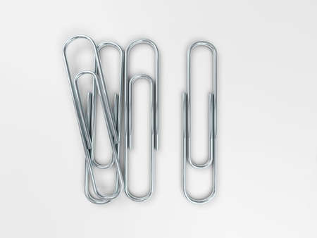 isolated object: Beautiful image of silver metal paper clips with soft shadows on a white background. 3d rendering Stock Photo