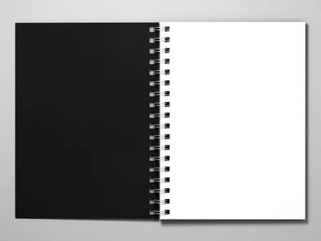 diary background: Diary with a black cover on white background. Diary with spring. 3d rendering Stock Photo