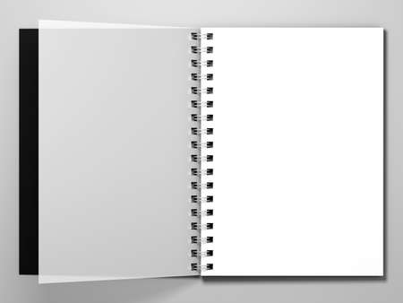 open diary: Diary with a black cover on white background. Diary with spring. 3d rendering Stock Photo