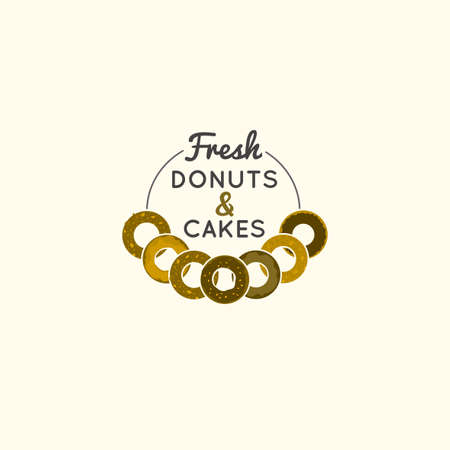 pone: Vector editable illustration of beautiful bakery logotype with freshly baked donuts. Useful for bakery and bread shop logo designs, labels, badges and design elements.