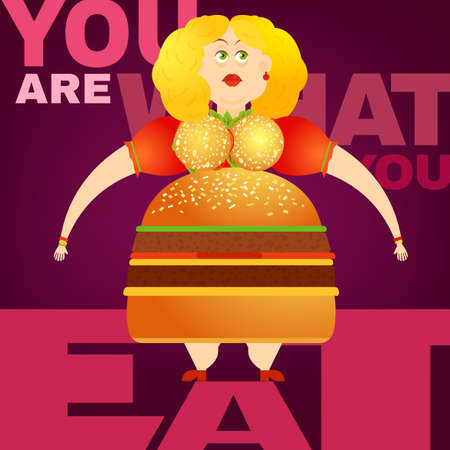unfit: Beautiful illustration of the overweight woman in the You are what you eat concept. Editable image useful in obesity placard, poster, infographics and brochure design in cartoonish style.