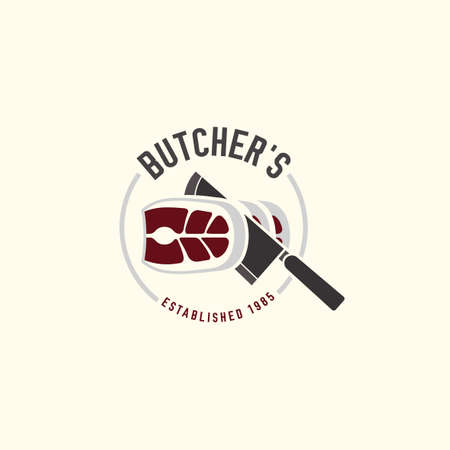 editable illustration of beautiful butchery logotype. Useful for butcher shop logo designs, labels, badges and design elements.