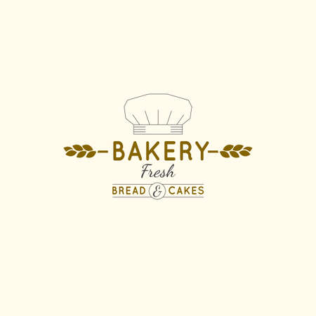 editable illustration of beautiful hand drawn bakery logotype in a shape of freshly baked goods. Useful for bakery and bread shop logo designs, labels, badges and design elements. Illustration
