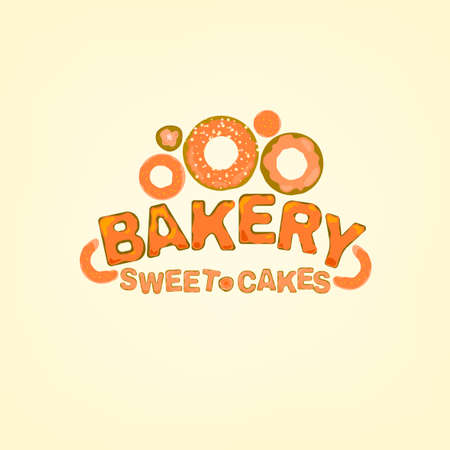 freshly baked: Editable illustration of beautiful hand drawn bakery logotype in a shape of freshly baked goods. Useful for bakery and bread shop logo designs, labels, badges and design elements. Illustration