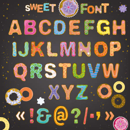 sweet food: Beautiful hand drawn typeface in a shape of freshly baked cakes with multicolored hard sauce decoration. Sweet font for creating cute postcards, food placards, posters and romantic invitations.
