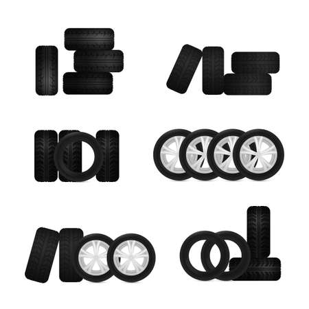tire fitting: illustration of car tires images useful for icon and logotype design on a light background. Realistic graphic style. Transportation automotive concept. Digital pictogram collection Illustration