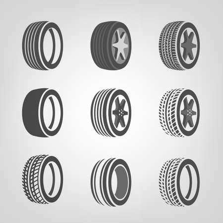 tire shop: Beautiful illustration of car tires images useful for icon and logotype design on a light background. Realistic graphic style. Transportation automotive concept. Digital pictogram collection