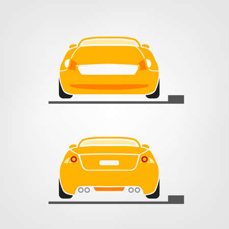 car race: Beautiful illustration of car images useful for icon and logotype design on a light background. Front view and back view. Transportation automotive concept. Digital pictogram collection