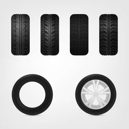 durability: Beautiful illustration of car tires images useful for icon and logotype design on a light background. Realistic graphic style. Transportation automotive concept. Digital pictogram collection