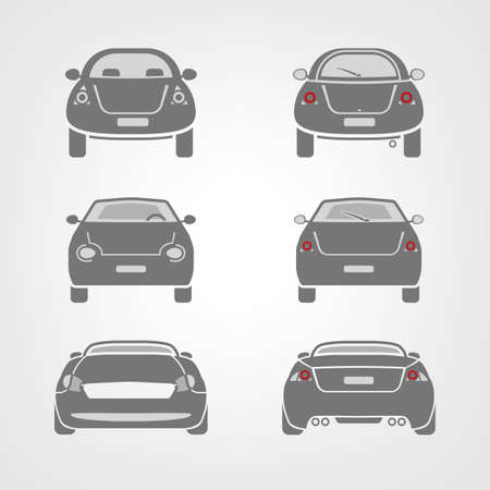 rear view: Beautiful illustration of car images useful for icon and logotype design on a light background. Front view and back view. Transportation automotive concept. Digital pictogram collection