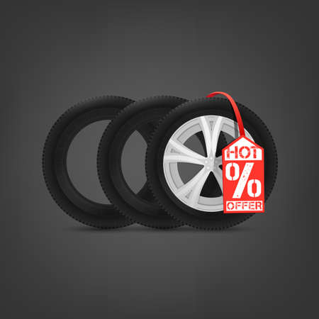 announcing: Beautiful illustration of the tire shop sale image with bright red tag. Modern realistic graphic style. Transportation automotive concept. Digital pictogram collection Illustration