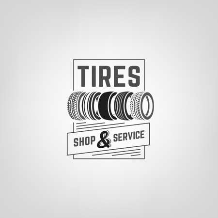 tire: Beautiful illustration of the tire shop logotype. Modern graphic style. Transportation automotive concept. Digital pictogram collection