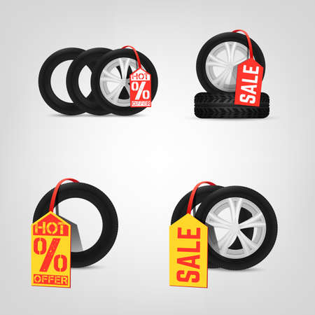 vulcanization: Beautiful illustration of the tire shop sale images with bright red and yellow tags. Modern realistic graphic style. Transportation automotive concept. Digital pictogram collection