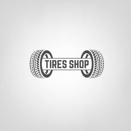tire fitting: Beautiful illustration of the tire shop logotype. Modern graphic style. Transportation automotive concept. Digital pictogram collection
