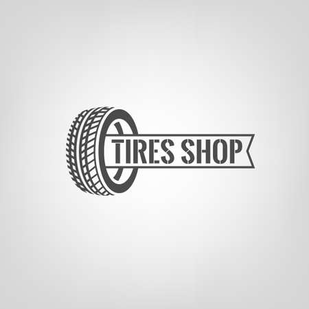 Beautiful illustration of the tire shop logotype. Modern graphic style. Transportation automotive concept. Digital pictogram collection